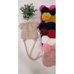 Gorro lana pompones