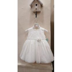 Vestido ceremonia blanco roto tull encaje