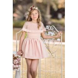 Vestido rosa capa encaje Nekenia